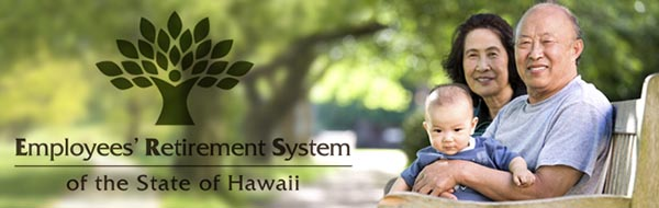 ERS banner image with elderly couple and grandchild seated on a park bench enjoying their retirement days in Hawaii.